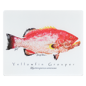 Yellowfin Grouper on white Cutting Board